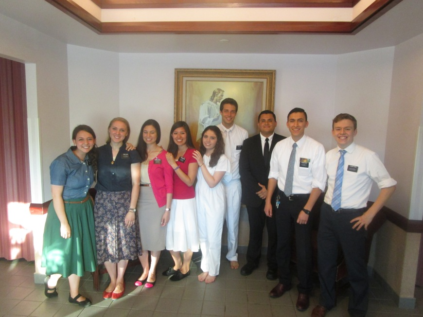 Jessie at her baptism and all the missionaries that helped her the past three weeks.